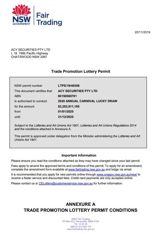 إثبات إشتراك ACY في الكرنفال الاسترالي السنوي بجوائز 2 مليار دولار